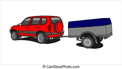 Vector Red SUV With Trailer.