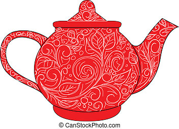 red teapot - vector red teapot