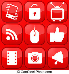 Vector red technology app icon set. Eps10