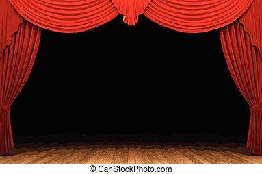 vector red velvet curtain stage
