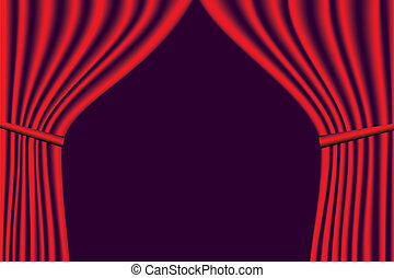 Vector red velvet theater curtains