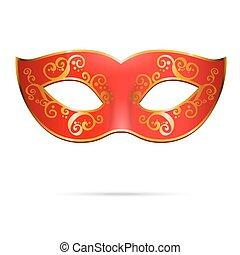 Vector red venetian carnival mardi gras party mask.