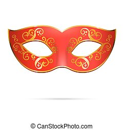 Vector red venetian carnival mardi gras party mask.