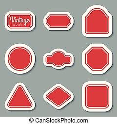 Vector red vintage labels set. Frames for design