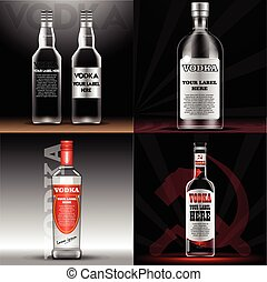 Vector red and transparent vodka bottle mockup with your label here text. Silver bottle with cap over black background