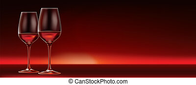 vector red wine for two banner with lots of copy space - 2...