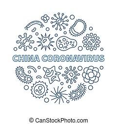 vector, redondo, china, azul, coronavirus, ilustración, ...