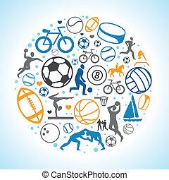 vector, redondo, concepto, con, deporte, iconos, y, señales