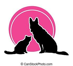 vector, redondo, magenta, icon., gato, plano de fondo, circle., perro, ilustración