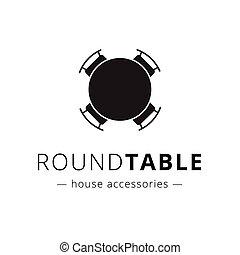 vector, redondo, negro, minimalistic, sillas, logo., tabla
