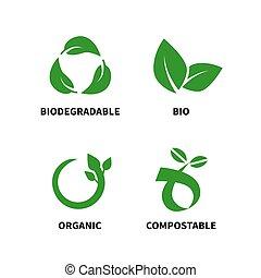 vector, reducir, biodegradable, compostable, reciclar, uso repetido, ilustración, concepto
