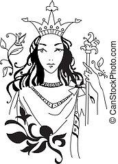 vector, reina, romántico, ilustración