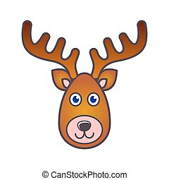 Vector reindeer face christmas icon