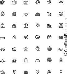 vector, reizen, pictogram, set