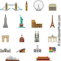 vector, reizen, symbool, pictogram, set