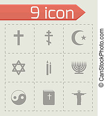 vector, religie, set, black , iconen