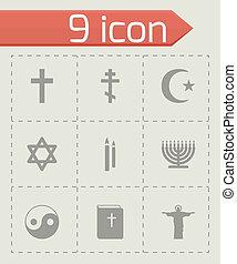 vector, religie, set, black , iconen
