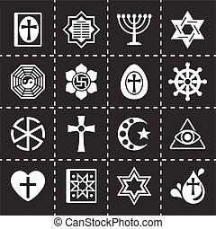 Vector Religion icon set on black background