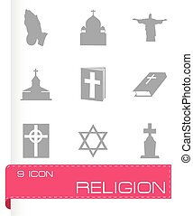 Vector religion icons set on white background