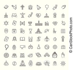 Vector religion icons set thin style. Vector - Religion ...