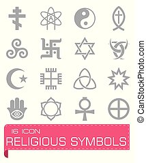 Vector Religious symbols icon set on grey background