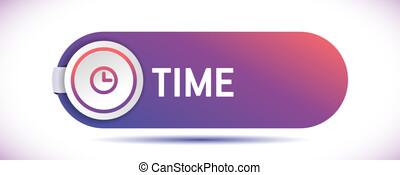 vector, reloj, icono