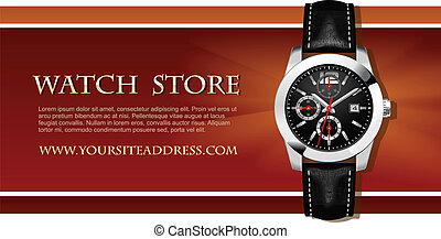 vector, reloj, tarjeta de la tienda