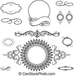 vector, remolino, ornamento, y, marco, conjunto