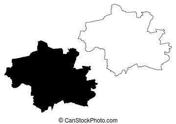 vector, república, munich, (federal, mapa, germany), bosquejo, munchen, ilustración, ciudad, garabato