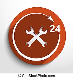 Vector repair icon. 24 hours service.