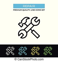 Vector repair icon. Crossed hammer and wrench. Premium quality graphic design. Modern signs, outline symbols collection, simple thin line icons set