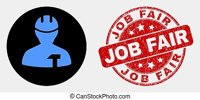 Vector Repairman Icon and Distress Job Fair Stamp Seal