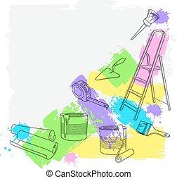 vector, reparación, construcción, tools., ilustración