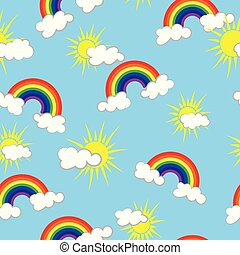 Sun, clouds and rainbow on sky blue background