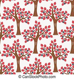 Vector repeat seamless pattern with apple trees.