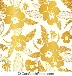 Vector repeat seamless pattern with pashy flowers. Gold foil.