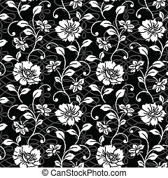 Detailed repeating floral pattern with underlying swirl pattern. Both patterns are separated, and easy to edit.
