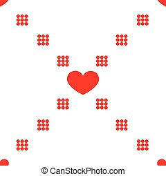 Vector repeating texture. Seamless geometric pattern with hearts.