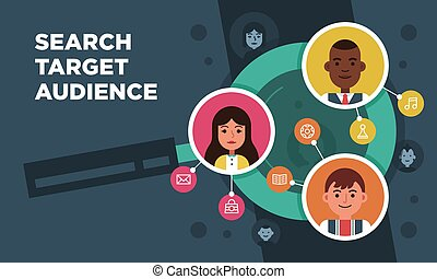 Vector research people searching target audience illustration