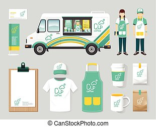 Vector restaurant cafe design set street food truck shop,...