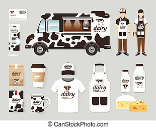 Vector restaurant cafe design set street dairy food truck...