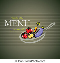 vector restaurant menu card design with pan and vegetables