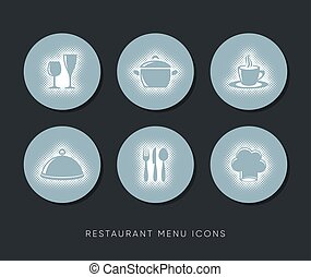 Vector restaurant menu web icons halftone design