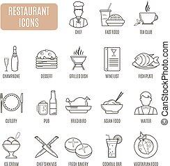 vector, restaurante, conjunto, icons., pictogram