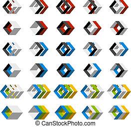 vector, resumen, 3d, cuadrado, iconos