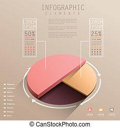 vector, resumen, 3d, gráfico circular, infographics