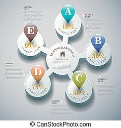 vector, resumen, 3d, infographics