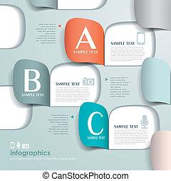 vector, resumen, 3d, origami, papel, infographics