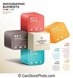 vector, resumen, 3d, papel, infographics