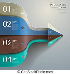 vector, resumen, 3d, papel, infographics